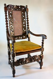 17th Century Caned Walnut Armchair. U532