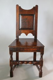 17th Century Panelled Back Oak Chair. V87