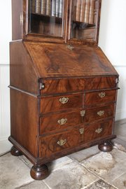 17th Century Walnut Glazed Bureau Bookcase V336