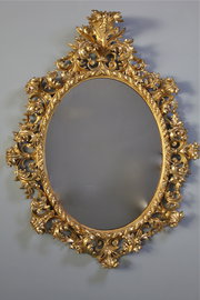 19th Century Florentine Carved Giltwood Mirror.