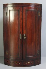 18th Century Oak Bow-Front Corner Cupboard