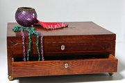 19th Century Figured Oak Lace Box. N845