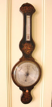 19th Century Japanned Wheel Barometer