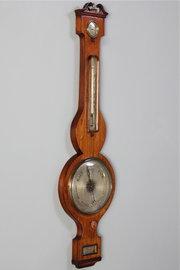 19th Century Mahogany Banjo Barometer