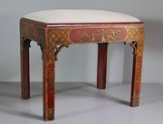 19th Century Red Chinoiserie Stool. U232