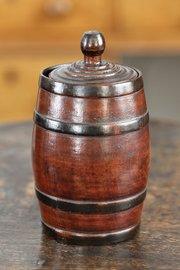 19th Century Treen Barrel Lidded Pot V156