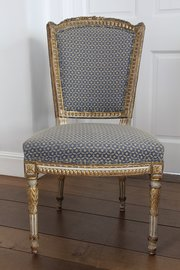 6 Antique Gilt and Upholstered Dining Chairs V90