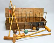 Antique Boxed Jacques Croquet Game. V54