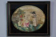 Antique Framed Silkwork Picture. H585