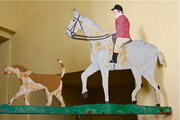 Antique Huntsman and Hounds Iron Weathervane