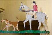 Antique Huntsman and Hounds Iron Weathervane