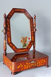 Antique Inlaid Dutch Toilet Mirror. T931