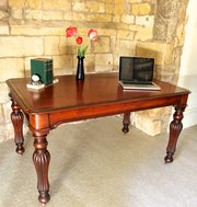 Antique Leathered Top Mahogany Library Table. U823
