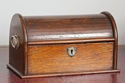 Antique Oak Roll Top Desk Box. U934