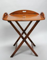 Antique Oval Oak Butlers Tray on Stand. U657