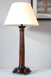 Edwardian Oak Column Table Lamp. S963