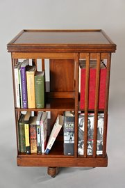 Edwardian Walnut Revolving Bookcase. U728