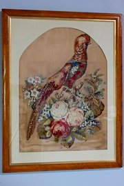 Framed Victorian Raised Woolwork Picture. U263