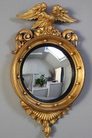 Geo Ⅳ Gilt Convex Mirror with Eagle Surmount