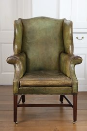 Georgian Green Leather Wing Armchair V122