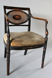 Hamptons Ebonised Open Armchair. U760