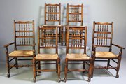 Late 19th Century Set of 6 Spindle Back Chairs