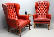 Pair of Vintage Red Leather Wing Armchairs