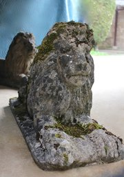Pr 19th Century Composition Stone Lions. U282