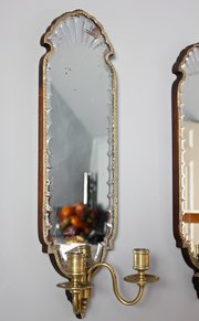 Pr 19th Century Wall Mirrors with Sconces. U429