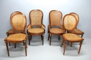 Set of 6 Antique French Caned Dining Chairs.