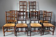 Set of 8 19th Century Spindle Back Chairs. T882