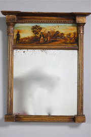 Small Regency Gilt Wall Mirror with Print