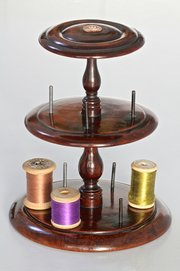 Victorian Yew Wood Cotton Reel Stand.