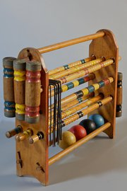 Vintage American Croquet Game on Stand.