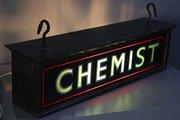 Vintage Hanging Electric Chemist Sign. U276