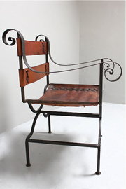 Vintage Iron and Leather Open Armchair