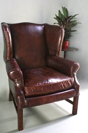 Vintage Leather Wing Armchair. U411