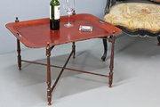 Vintage Red Toleware Tray on Stand. U655