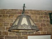 1920's metal and glass light