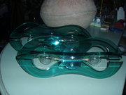 1970's Pair of wall lights green glass Conran