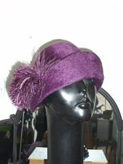 Aubergine colour fur felt cloche vintage