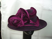 Aubergine felt with velvet swirl trim