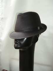 Black waxed cotton trilby