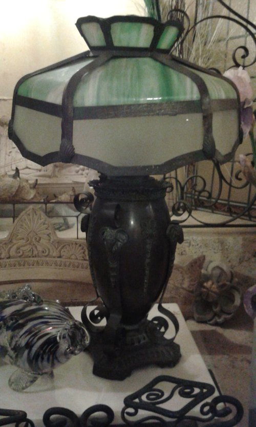 Bronze Miller light, glass shade
