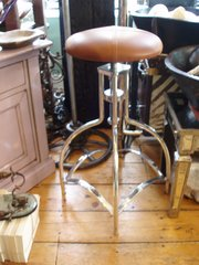Chrome and tan leather stools
