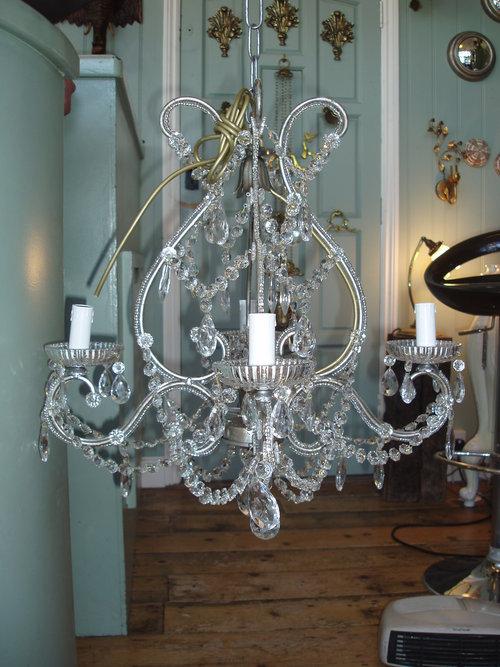 Glass chandelier on silver frame