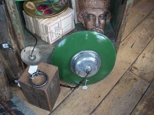 Green enamel industral shade lights x 3