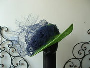 KC lime green hat with navy trim