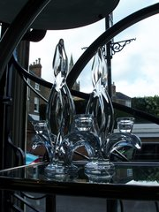 Pair of art glass candlesticks