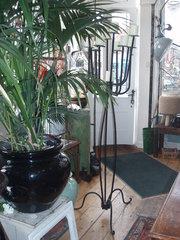 Pair of iron candlesticks